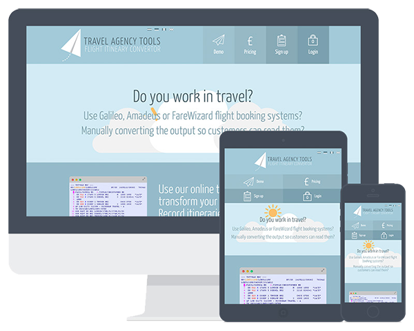Screenshots of the Travel Agency Tools website on multiple devices