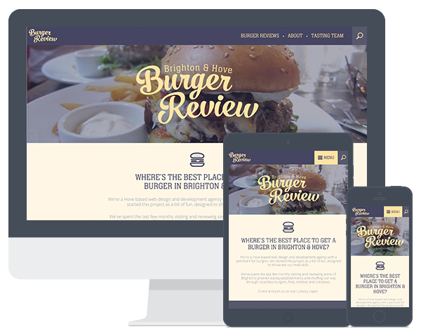 Screenshot of the Burger Review website on a computer screen and mobile devices
