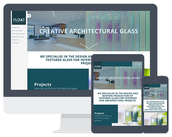 Screenshots of the Float Glass website on a computer screen and multiple devices