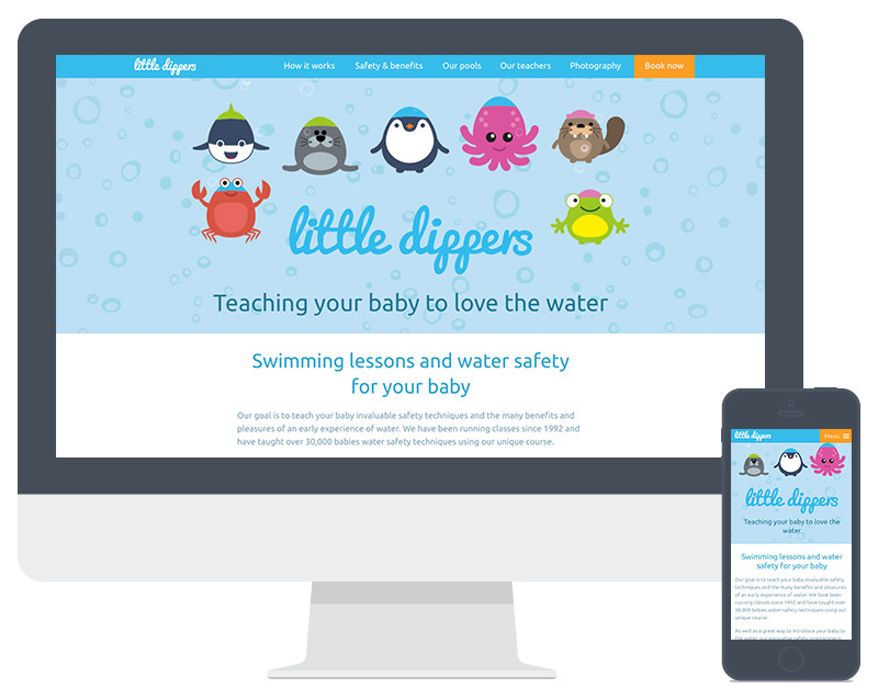 Screenshot of Little Dippers website on computer and mobile screen