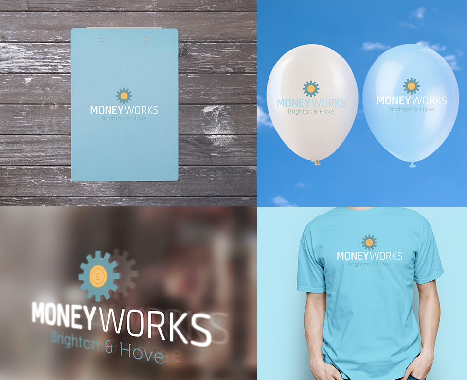 Moneyworks branding applications including balloons and stationary