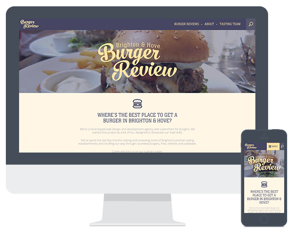 Screenshots of the Burger Review website in different devices