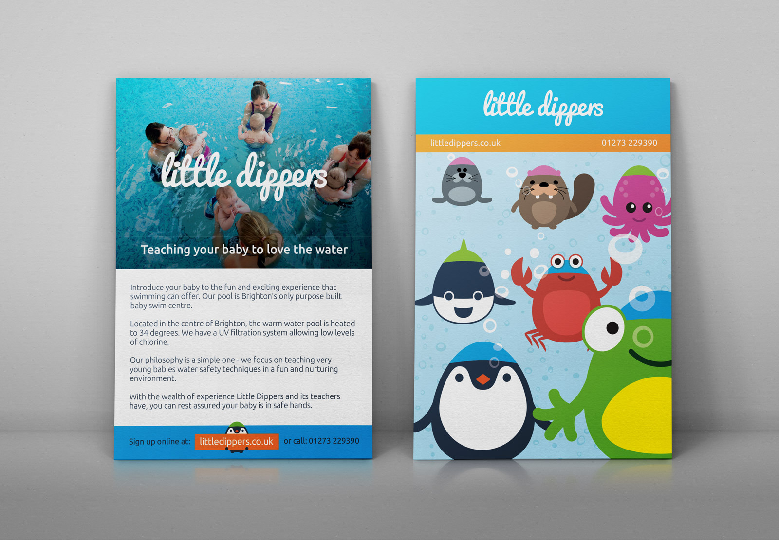 Baby swimming school flyer with integrated branding